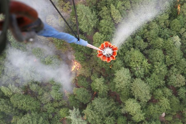 Bambi bucket, attached to a California Army National Guard CH-47 Chinook