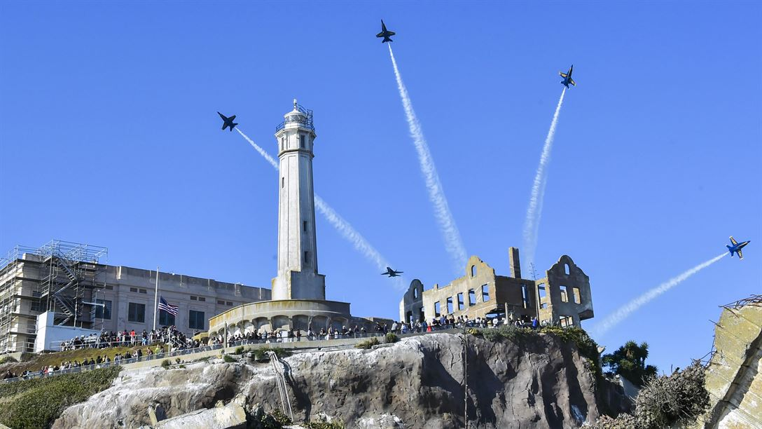 Blue Angels Navy flight demonstration squadron, perform over Alcatraz Island