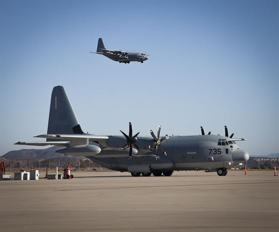 KC-130J Hercules with Marine Aerial Refueler Transport Squadron 352 arrives at Marine Corps Air Station Miramar