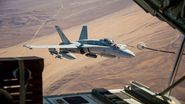 FA-18C Hornet Aerial Refueling During Integrated Training Exercise