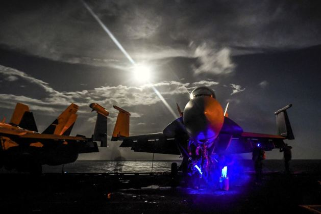 FA-18F Super Hornet, assigned to Strike Fighter Attack Squadron 22, on the USS Theodore Roosevelt in the Pacific Ocean