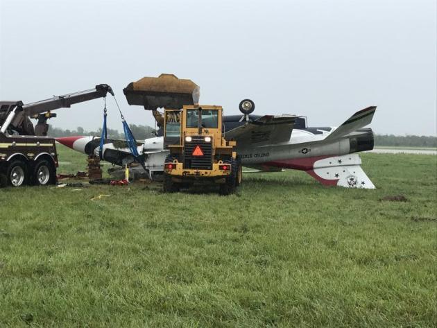 Thunderbird f-16 crash dayton wet runway too fast