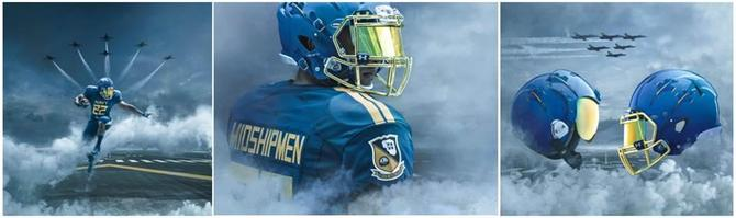 187241ae7 naval academy blue angels theme uniforms and helmet army navy game 2017-2
