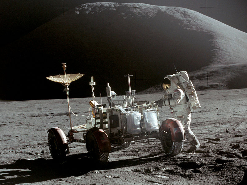 Apollo 15, taken by Commander David Scott at the end of EVA-1. Lunar Module Pilot Jim Irwin lunar rover