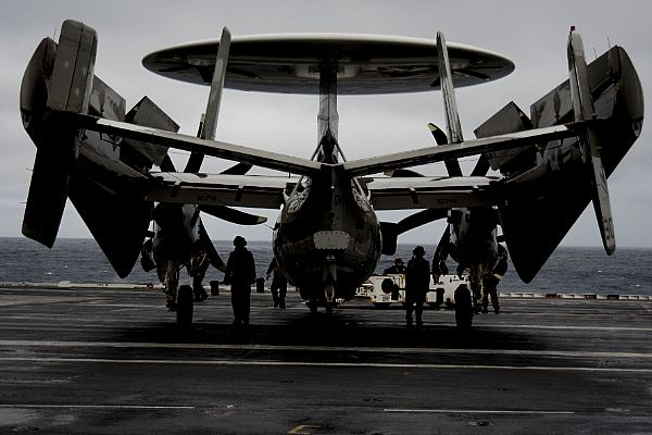 Sailors Prepare to Move E-2D Hawkeye Carrier Airborne Early Warning Squadron (VAW) 120