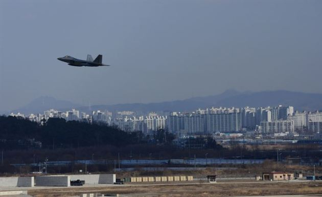 U.S. Air Force F-22 Raptor from Kadena Air Base, Japan, conducted a flyover in the vicinity of Osan Air Base, South Korea
