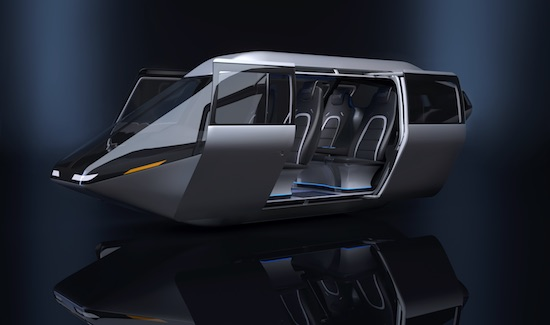Bell Helicopter's air taxi cabin revealed at CES 2018. Image courtesy of Bell Helicopter