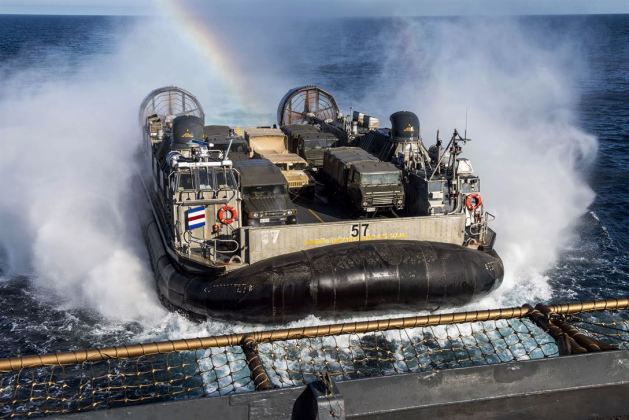 LCAC Air-cushioned Landing Craft 'Flies in' for Approach to the USS Rushmore