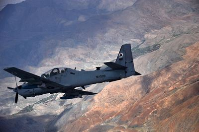 An Afghan air force A-29 Super Tucano aircraft flies over Afghanistan during a training mission