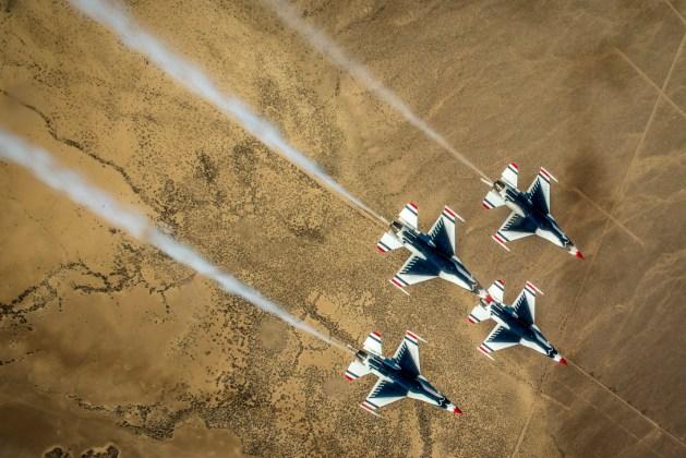 Air Force's Thunderbirds Perform a Diamond Roll