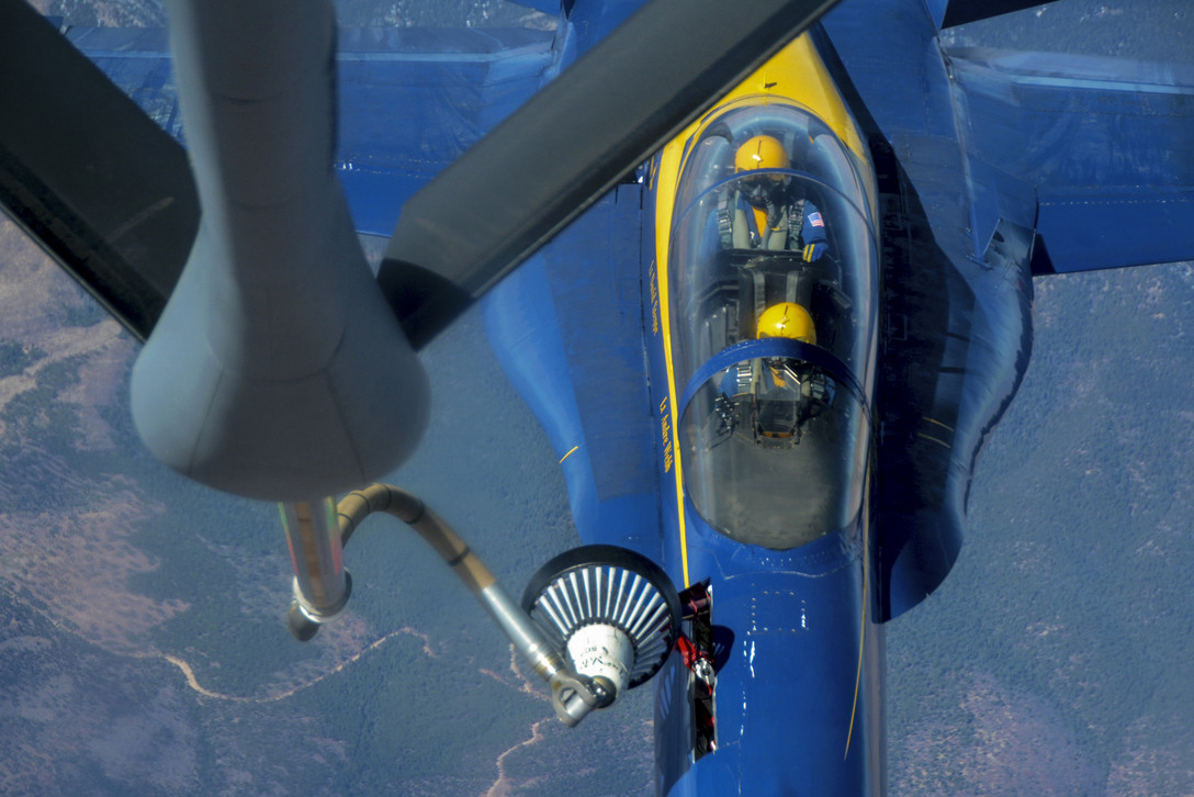 Blue Angels Getting Fuel From Air Force KC-135R Stratotanker