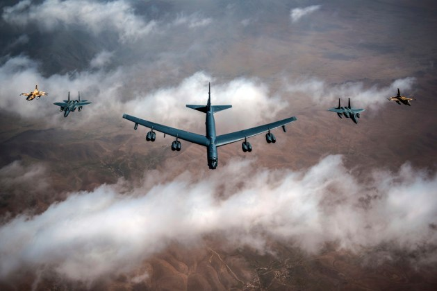 Air Force B-52 Stratofortress, F-15C Eagles and Moroccan air force F-16s fly in a formation in skies over Morocco