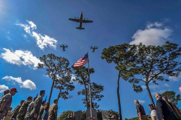 MC-130H Combat Talon II and two CV-22 Ospreys perform a flyover at Hurlburt Field operation eagle claw