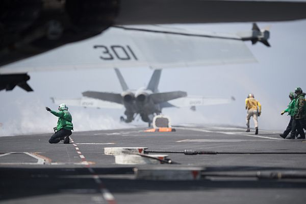 "F/A-18E Super Hornet with the ""Tophatters"" of Strike Fighter Squadron 14"