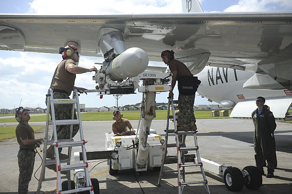 "Skinny Dragons"" of VP-4 Load a AGM-84D Harpoon Missile on a P-8A Poseidon"