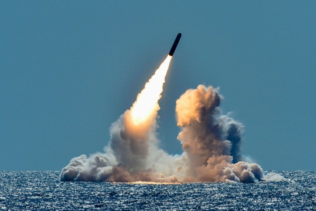 Trident II D5 missile launches from the ballistic missile submarine USS Nebraska