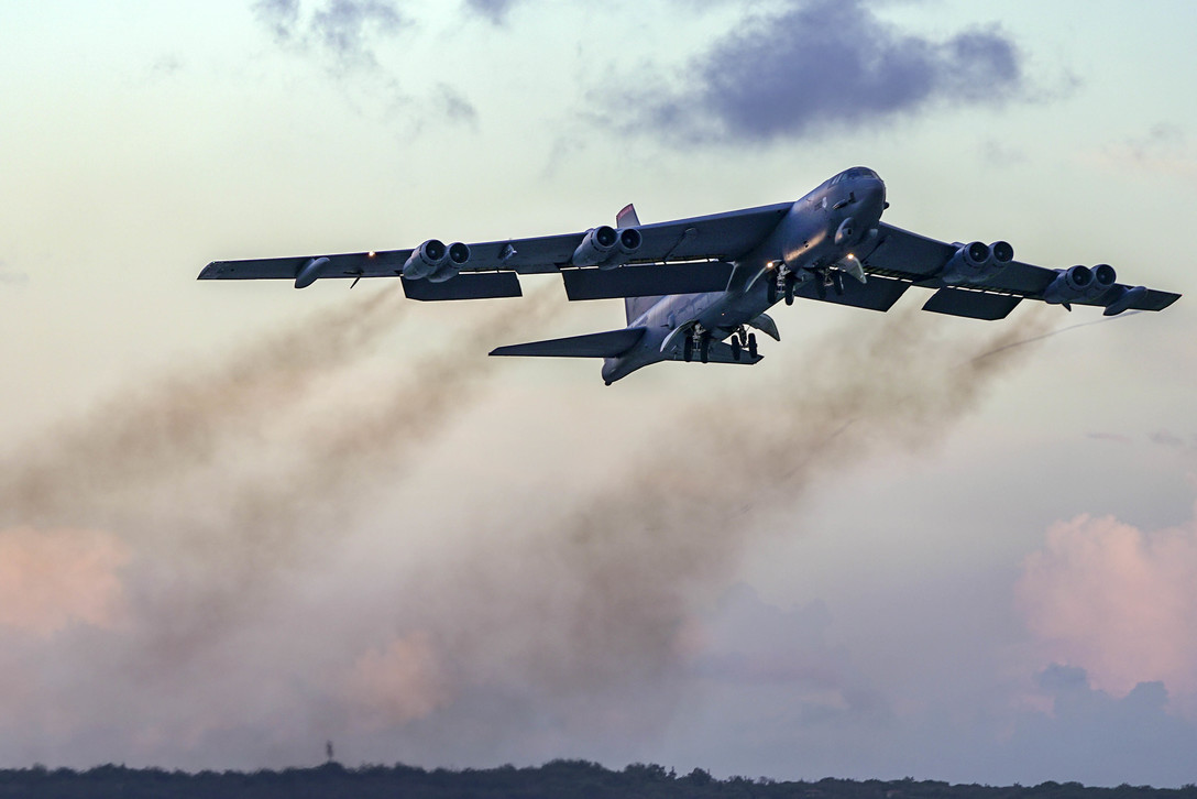 Air Force B-52H Stratofortress Taking Off From Andersen Air Force Base in Guam