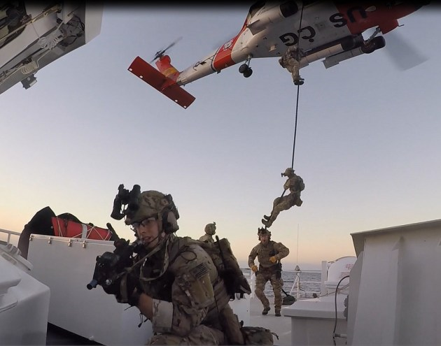 Coast Guard Maritime Security Response Team Conducts Fast Rope Training