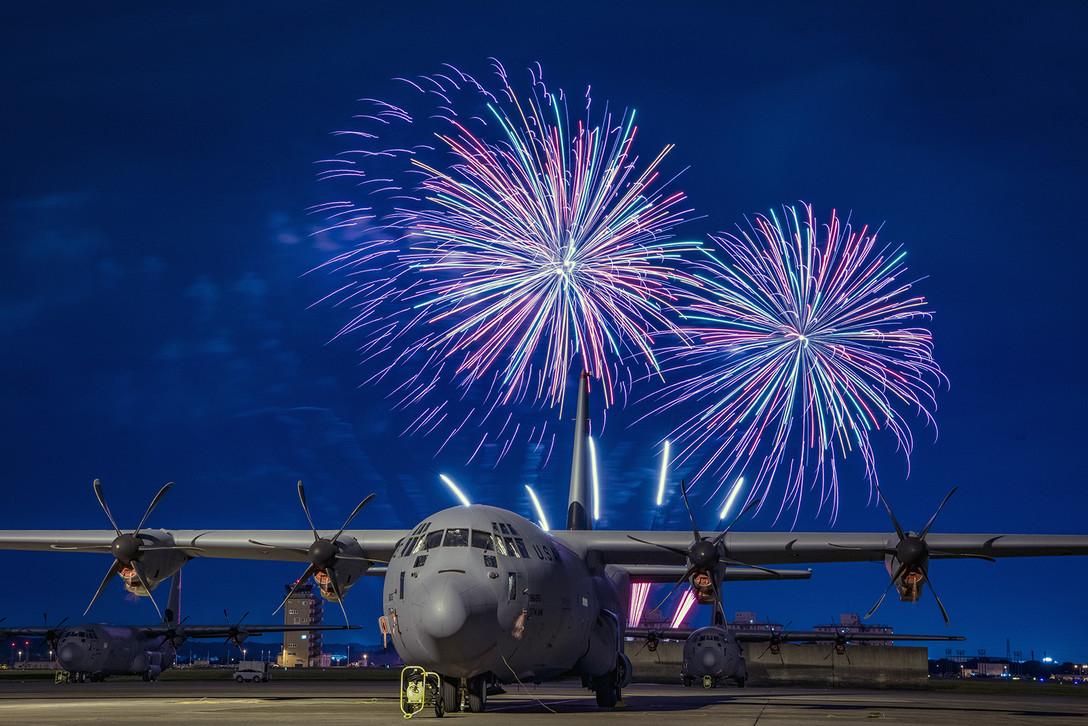 C-130J Super Hercules and Fireworks Display at Yokota Air Base, Japan