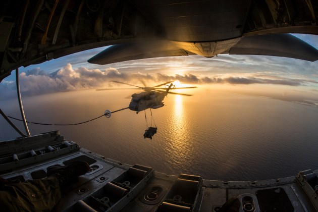 CH-53 Super Stallion and a Humvee Aerial Refueling