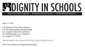 Dignity in Schools Campaign Letter to LAUSD
