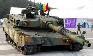 K1A1 Tank demonstrating its hybrid suspension