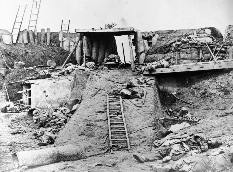 Bodies and devastation on steep incline inside North Taku Fort in China during the Second Opium War, August 21, 1860