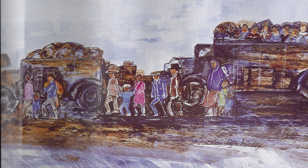 "A section of the painting ""Los Repatriados: Exiles from the Promised Land"" by Nora Chapa Mendoza depicts Mexican immigrants traveling together in a caravan."