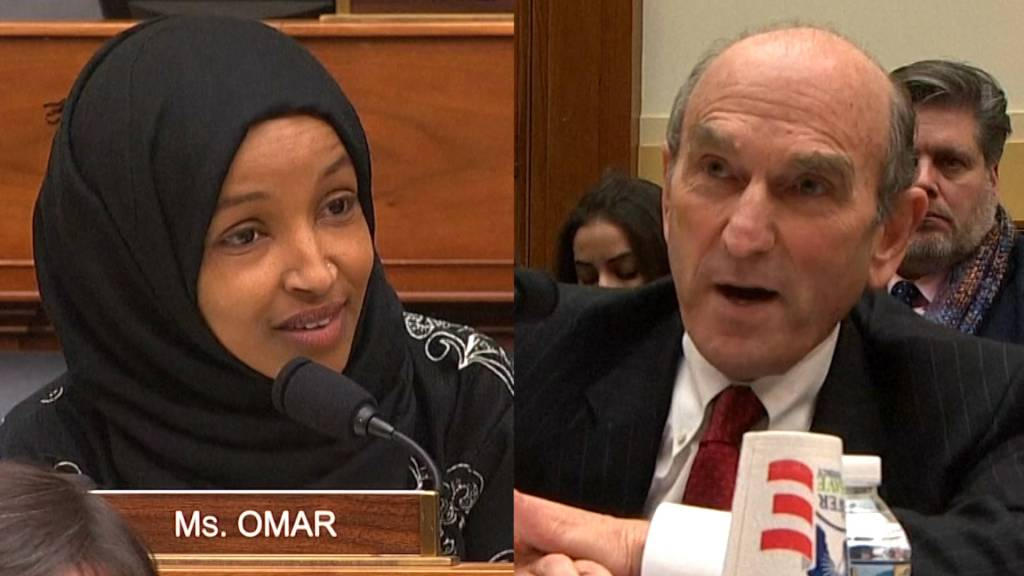 Congresswoman Ilhan Omar and war criminal Elliot Abrams