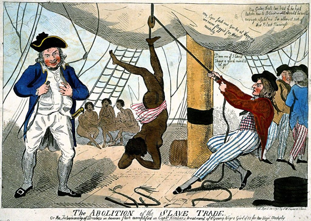 Torture and murder of an African woman, depicted in this drawing by Isaac Cruikshank.