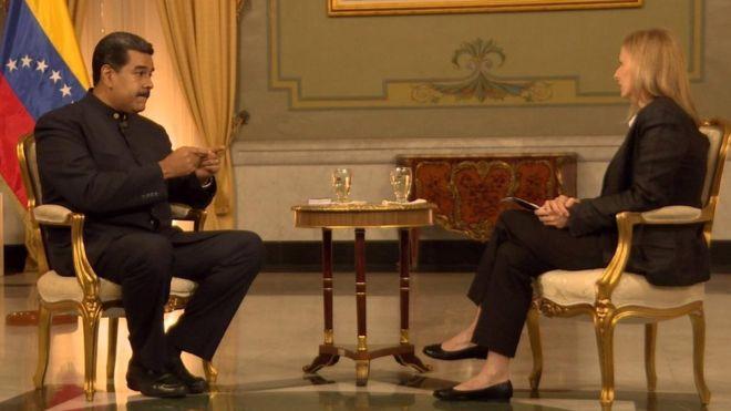 President Nicolás Maduro being interviewed by BBC's Orla Guerin i