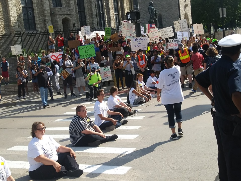Detroit activists block the entrance and exit to the tunnel to Windsor Canada near the Democratic Party debate on July 31, 2019