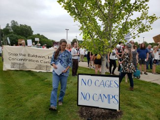 Protestors demand that the opening of Baldwin detention camp be stopped