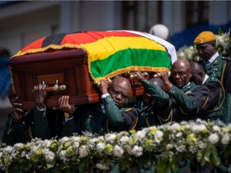 Zimbabwe President Robert G. Mugabe casket carried by soldiers to Rufaro Stadium on September 12, 2019.
