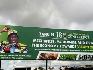 Zimbabwe billboard advertising ZANU-PF National People's Conference during Dec. 2019.
