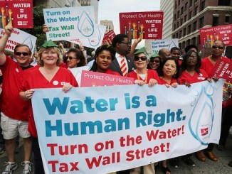Detroit demonstration against water shutoff on July 18, 2014