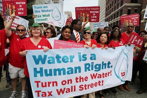 Detroit demonstration against water shutoff on July 18, 2014