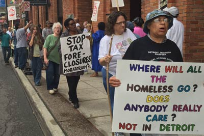 Eviction crisis has been a longterm problem in Detroit where this demonstration was held during 2016