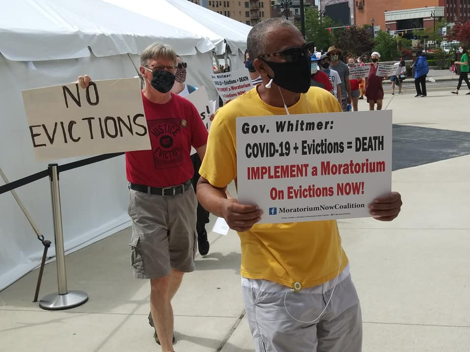 Reinstate a Moratorium on Evictions picket line outside 36th District Court