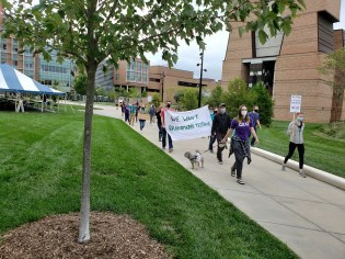 GEO members march through U of M's North Campus on Thur., Sept. 10 - MS