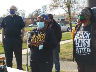 Racial Profiling billboard press conference featuring Yvonne Jones