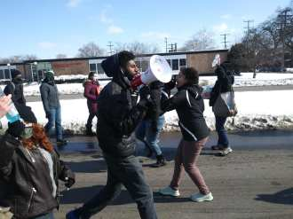 Detroit demonstration against evictions in front of 10th precinct led by DWB