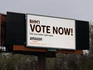 An Amazon-sponsored billboard in Bessemer, Ala.
