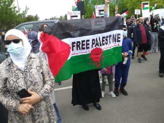 Free Palestine march says end the occupation on May 16, 2021