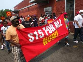Detroit Fight for $15 demonstration on July 20, 2021