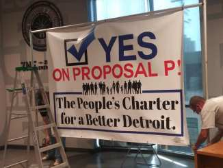 Detroit Says Vote Yes on Proposal P press conference on June 24, 2021