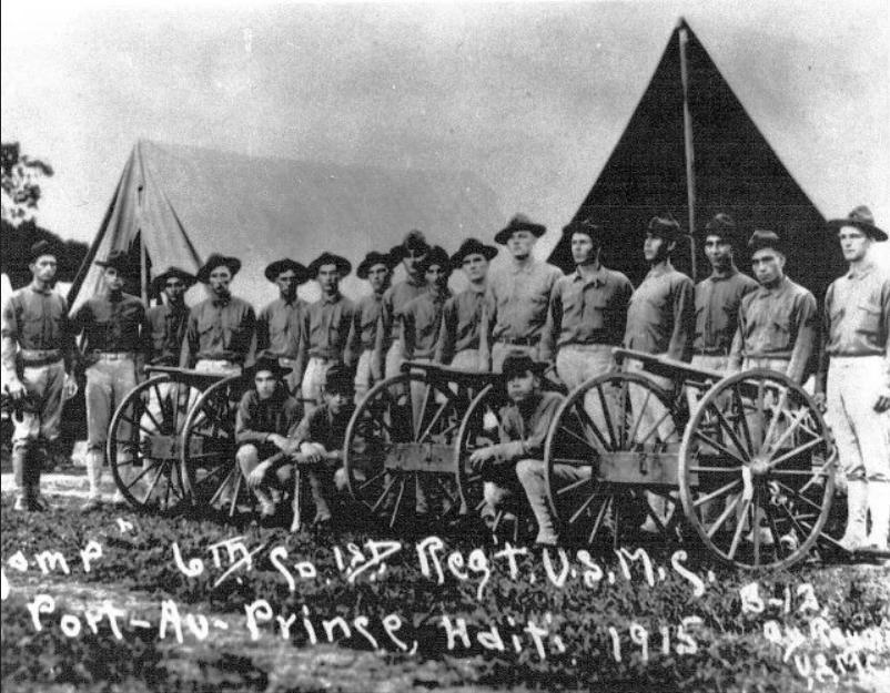 U.S. control of Haiti began with U.S. Marines occupying in 1915