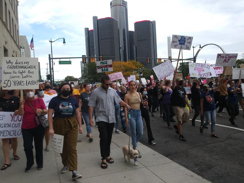 Detroit Women's March on Jefferson, Oct. 2, 2021