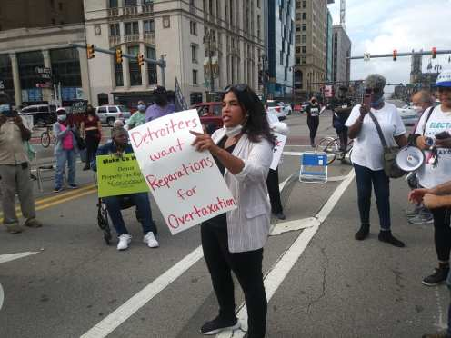 Detroit demonstration blocks Woodward demanded action from city government, Oct. 8, 2021