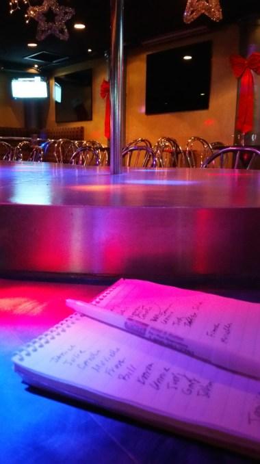 Debrief at a strip club